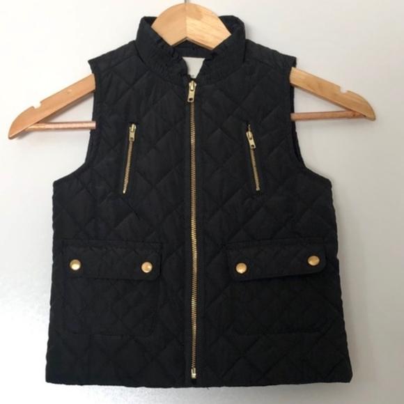 Copper Key Jackets & Blazers - Copper Key Quilted Vest Girls 10/12 Black + Gold